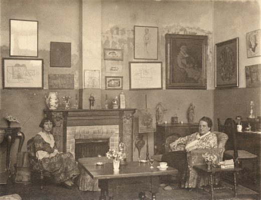 Gertrude Stein and Alice Toklas in their home in Paris at 27 rue de Fleurus